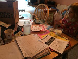 my daughter and I sorting through her school papers