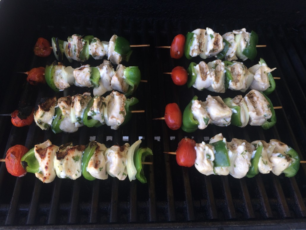 cooked kebabs on the grill