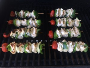 cooked kabobs on the grill