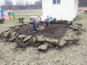 digging sod for sandbox