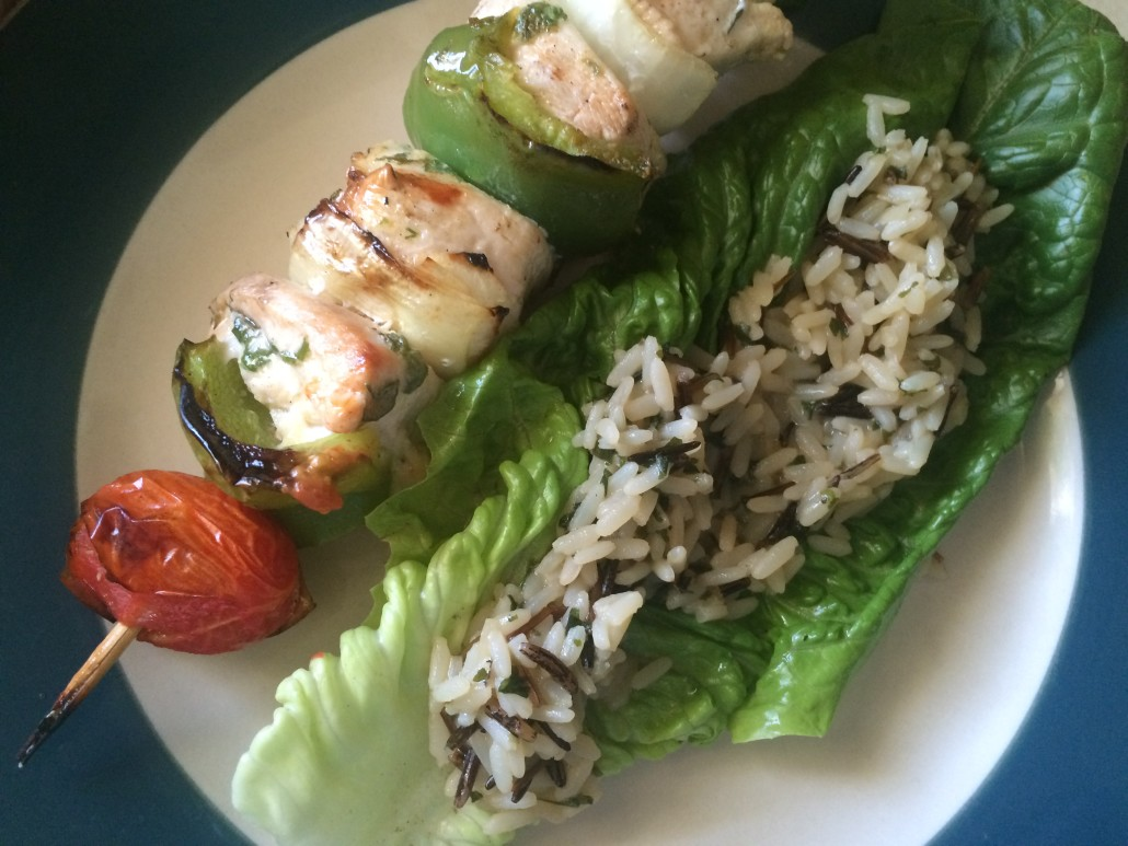 Chicken Kebab with Lettuce and Rice Wrap