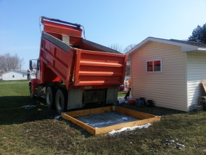 truck with sand for sandbox