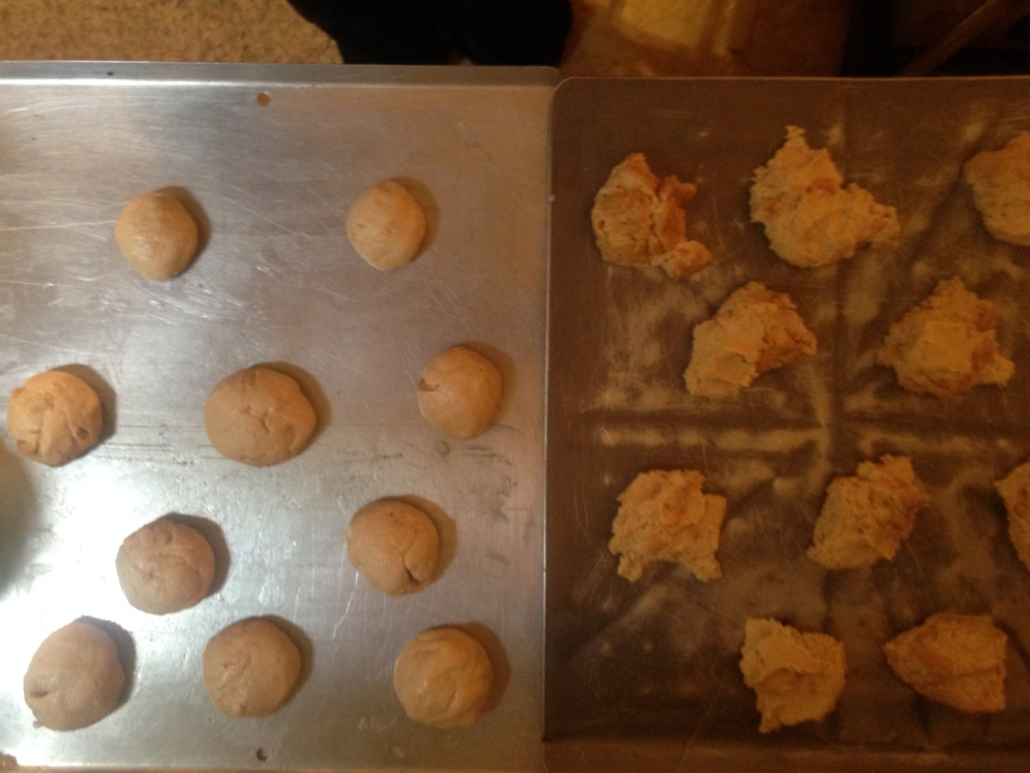 Rolling Dough Into Balls (Yes, my pans are atrocious!)
