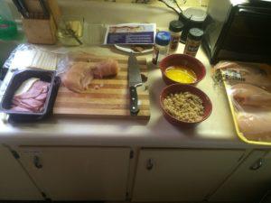 My Workstation for chicken cordon bleu