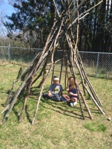 Ruby and Elliot Playing in the Teepee