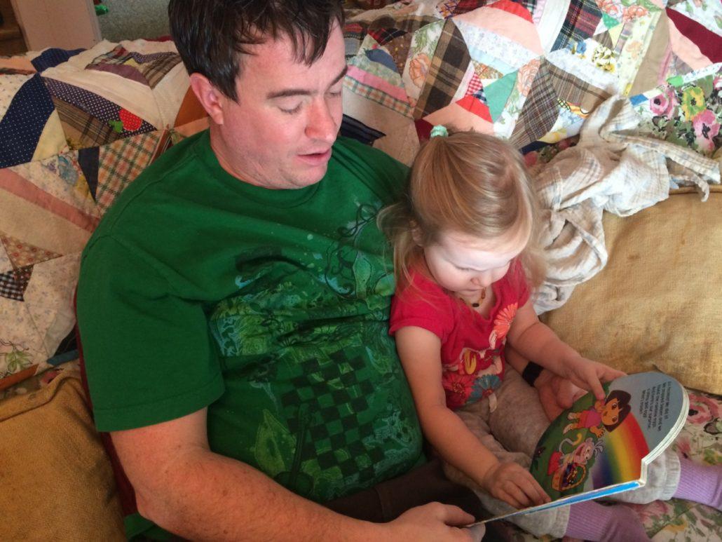 Scott Reading with Ophelia