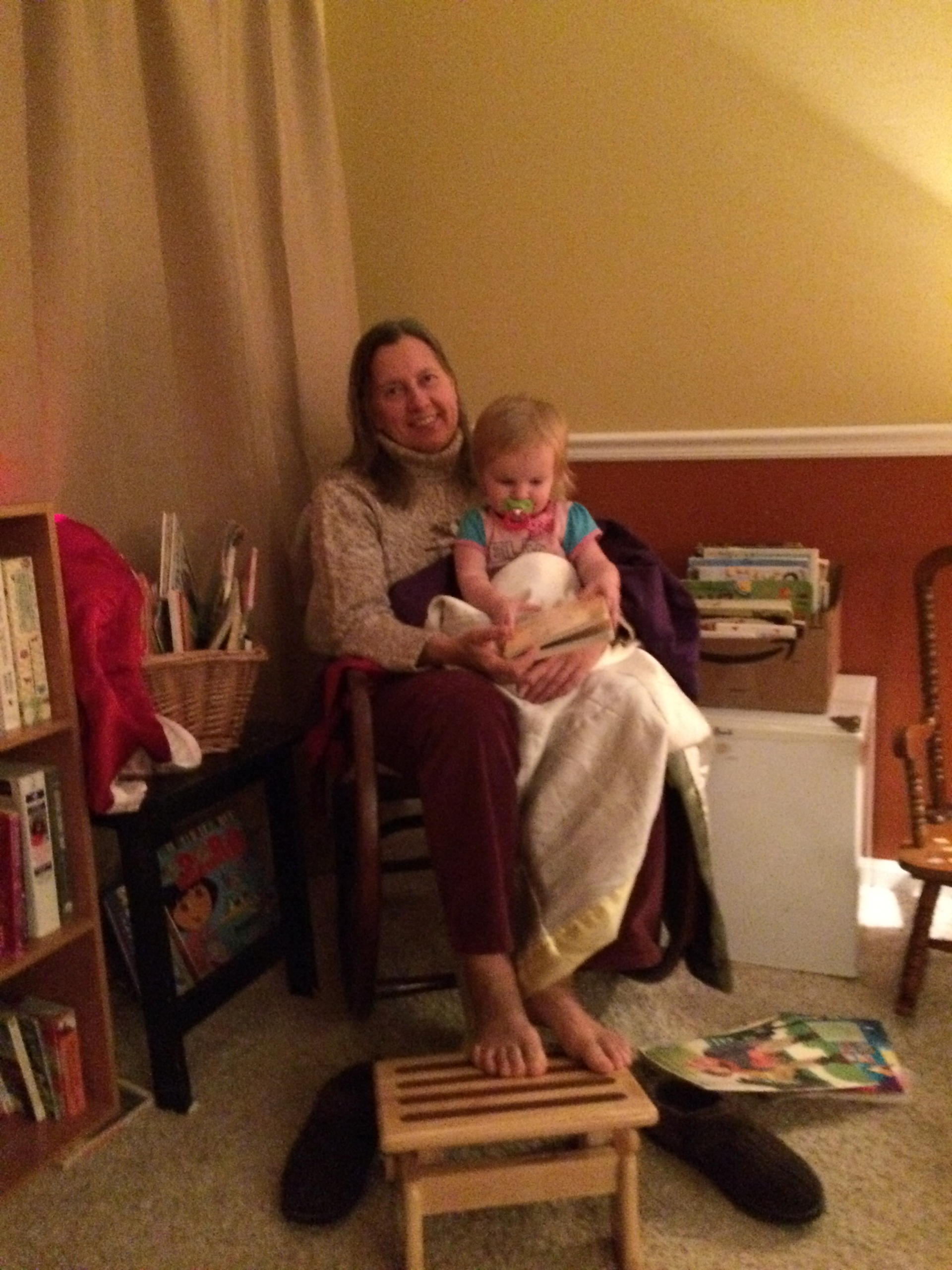My Mom Reading to Ophelia Earlier in the Night