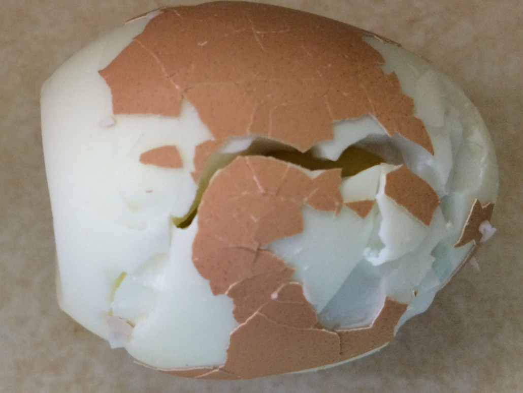 hard boiled egg that is too hard to peel