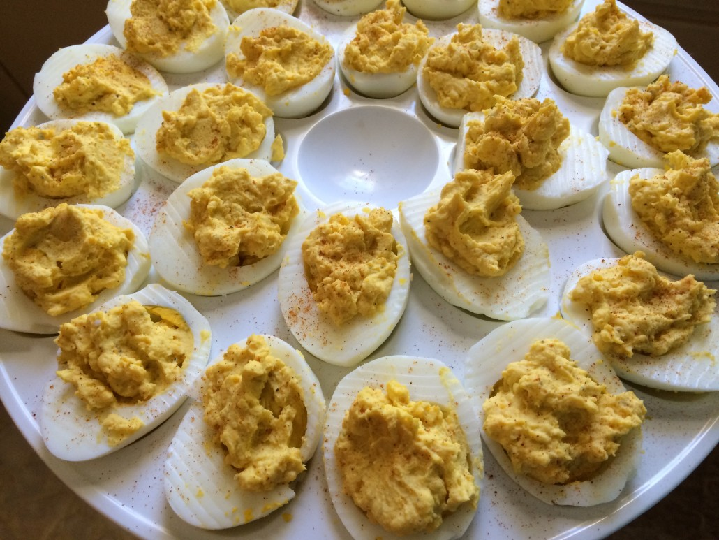 tray of deviled eggs make a perfect party appetizer