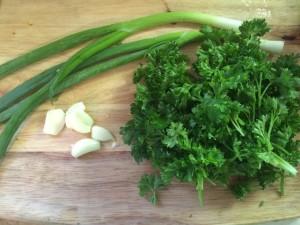 green onions, garlic, parsley on a wooden cutting board