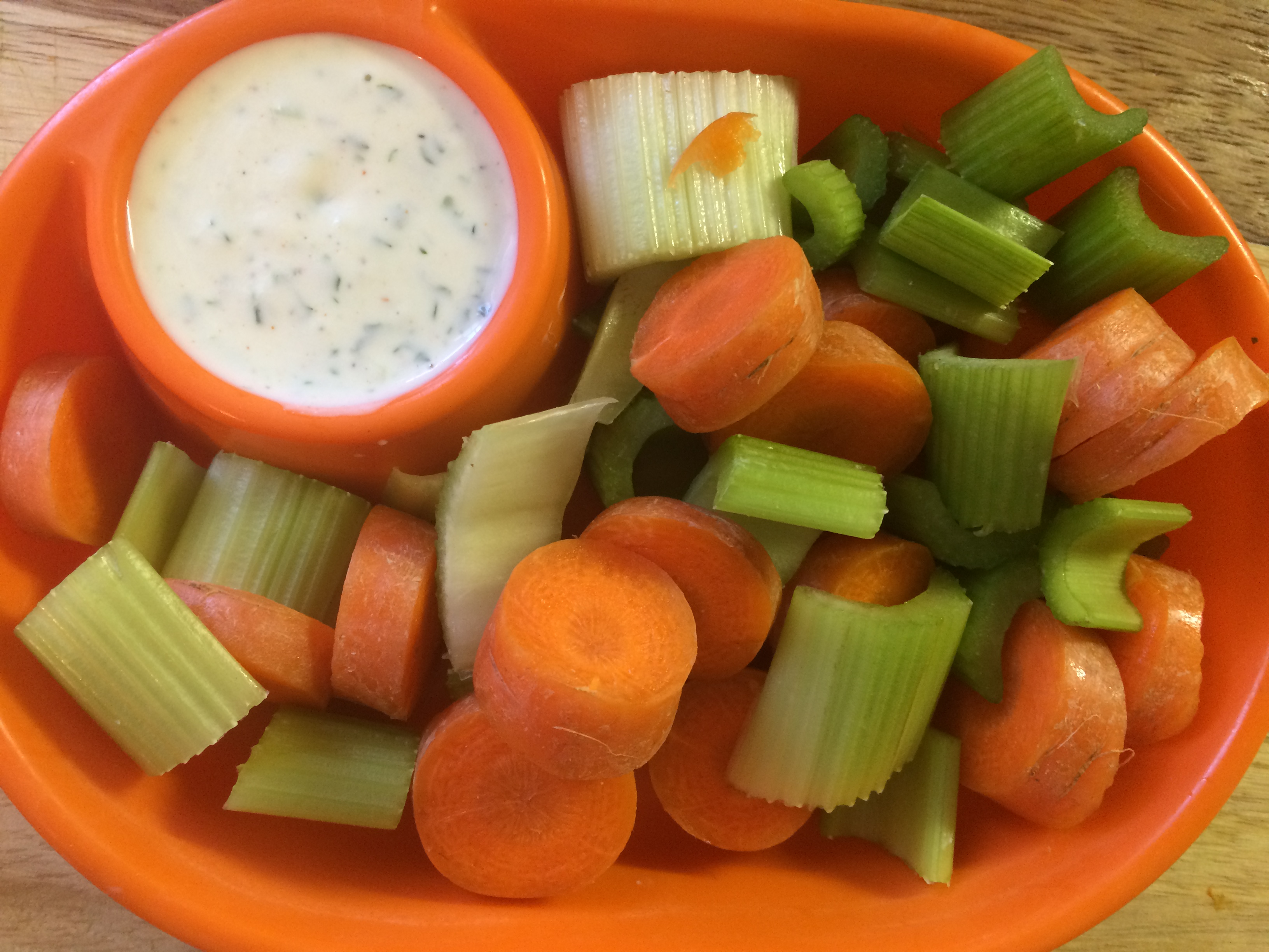 Ranch Dressing Dip with carrots and celery