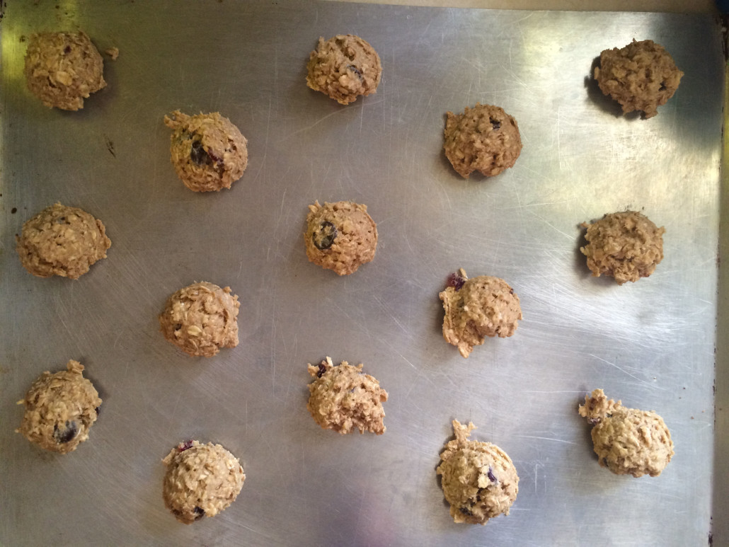 Oatmeal Cookie Batter Neatly Scooped on a Cookie Tray