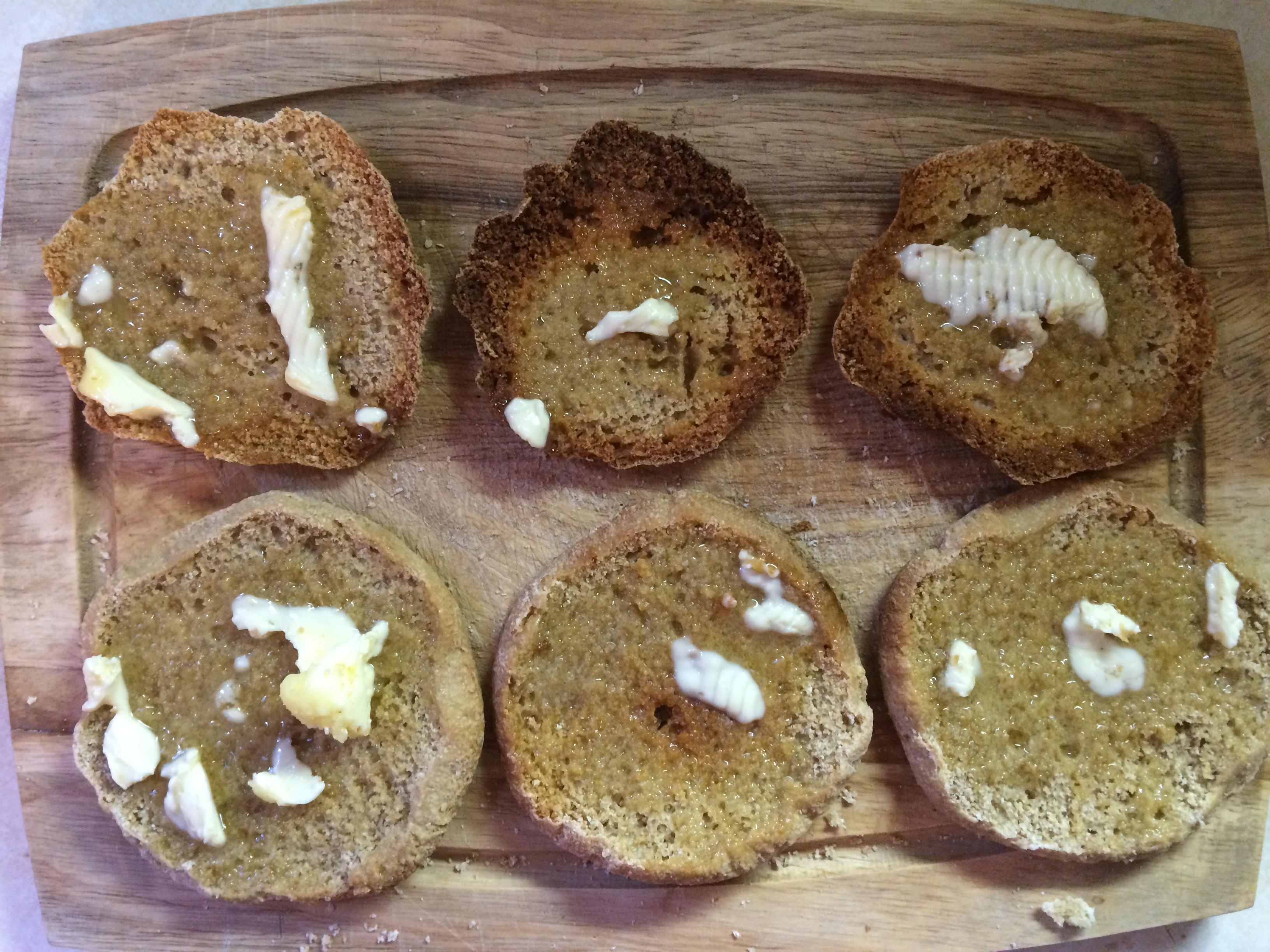 Toasted Sourdough Muffins with Butter