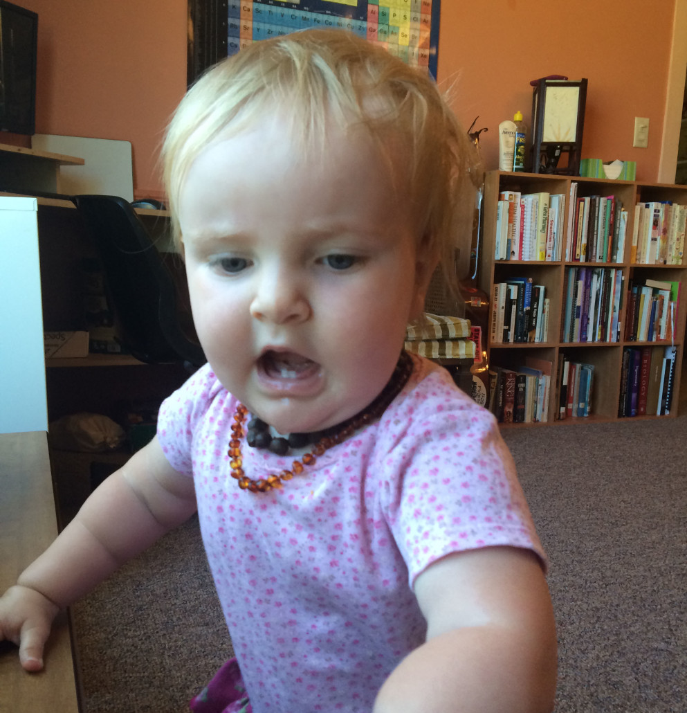 Ophelia with Amber Teeething Necklaces