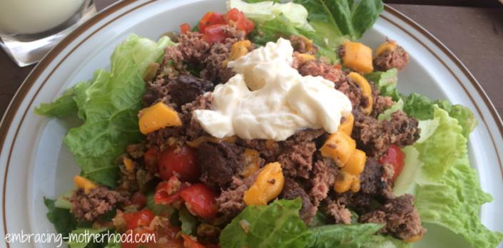 Embracing Motherhood Hamburger Salad Recipe