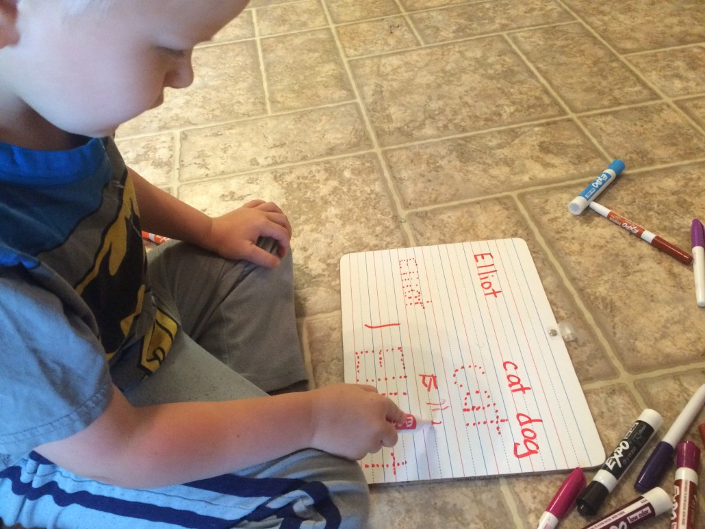 Elliot is Learning How to Write His Name