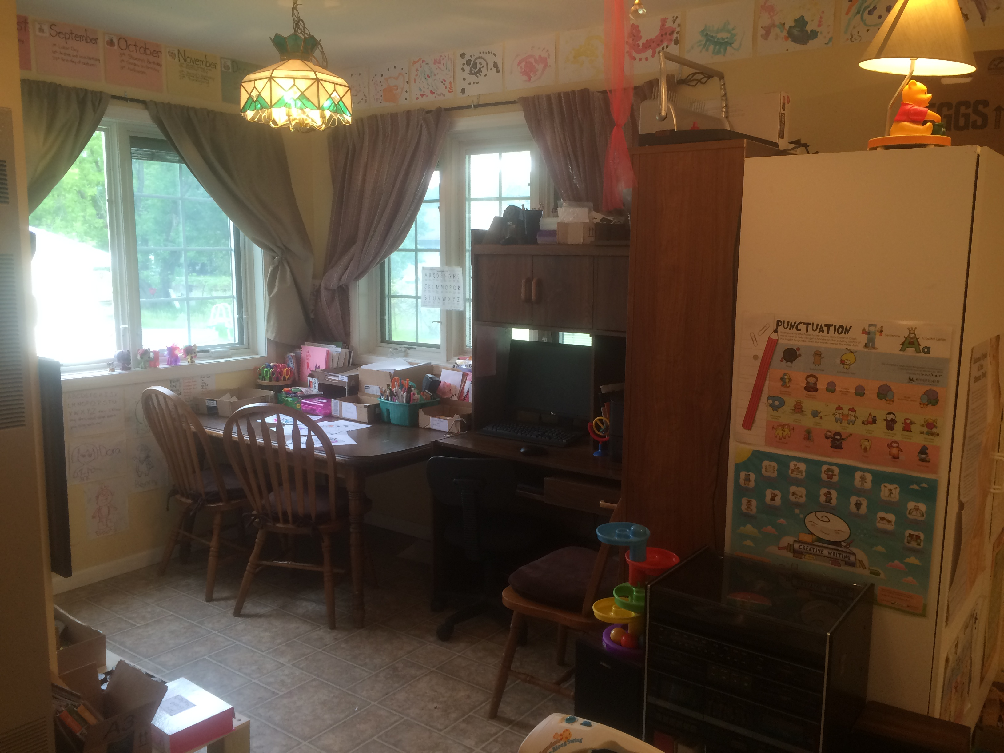 Homeschool Table and Computer Station