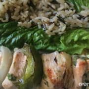 Embracing Motherhood Chicken Kabobs with Rice and Lettuce Wraps