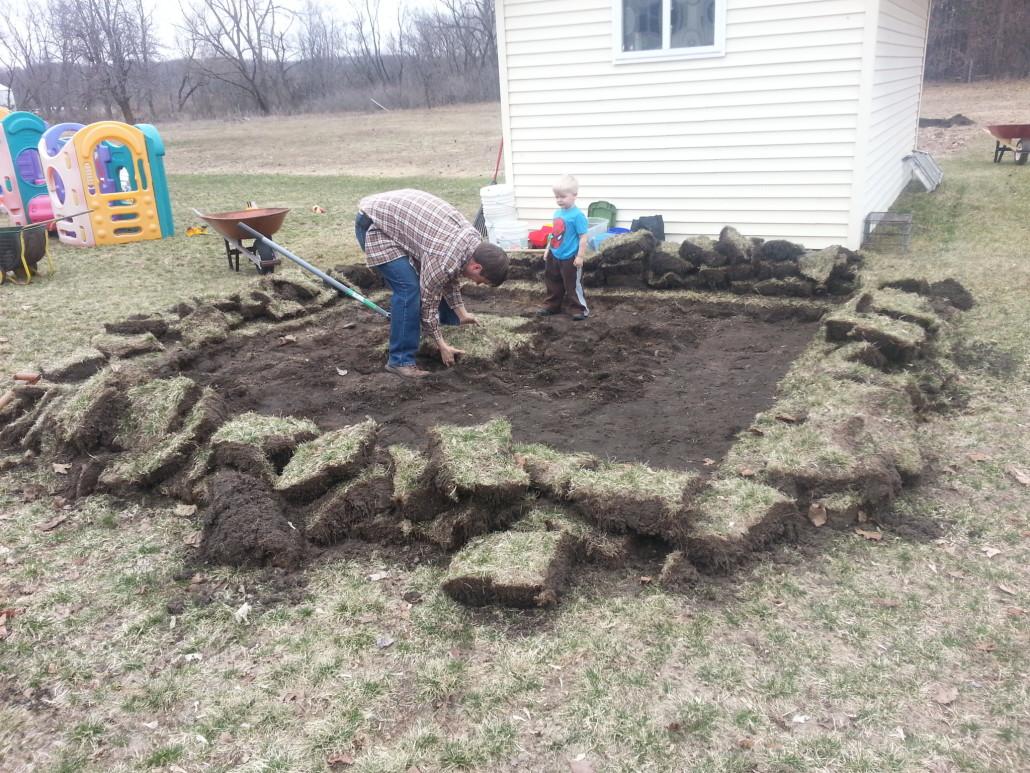 digging sod for sandbox