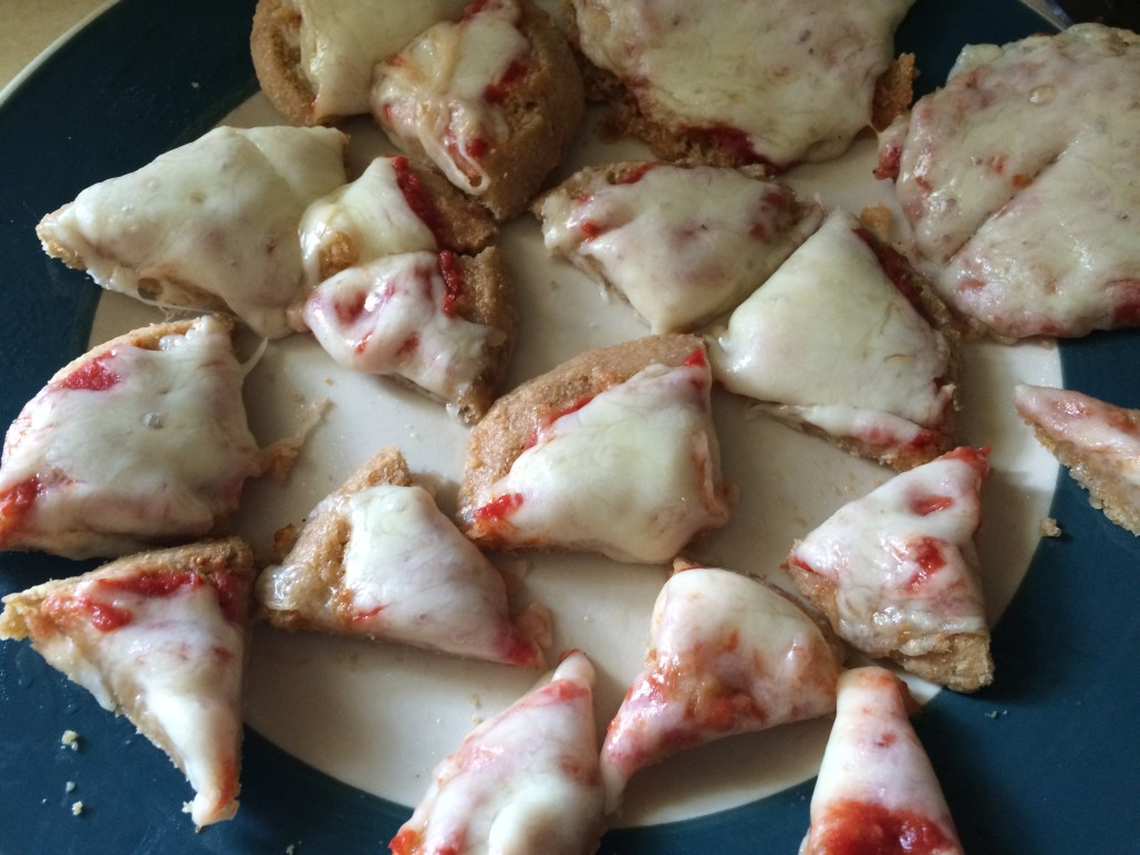 Pizza Toast Cut Up Into Bite Sized Pieces