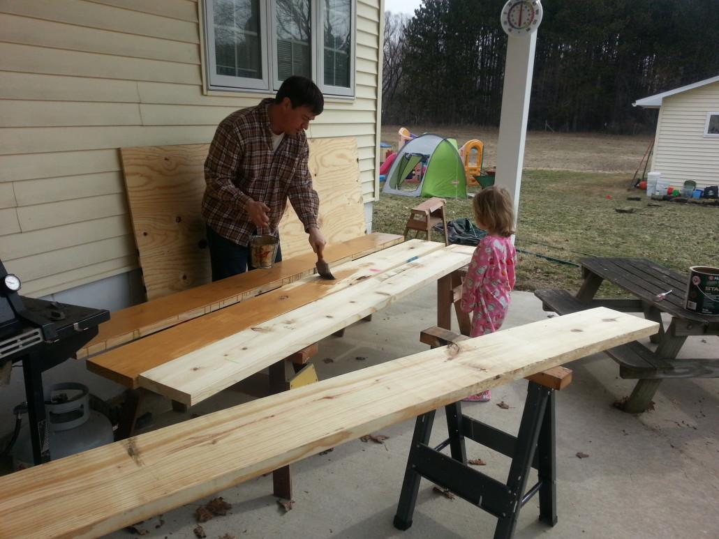 staining wood for sandbox