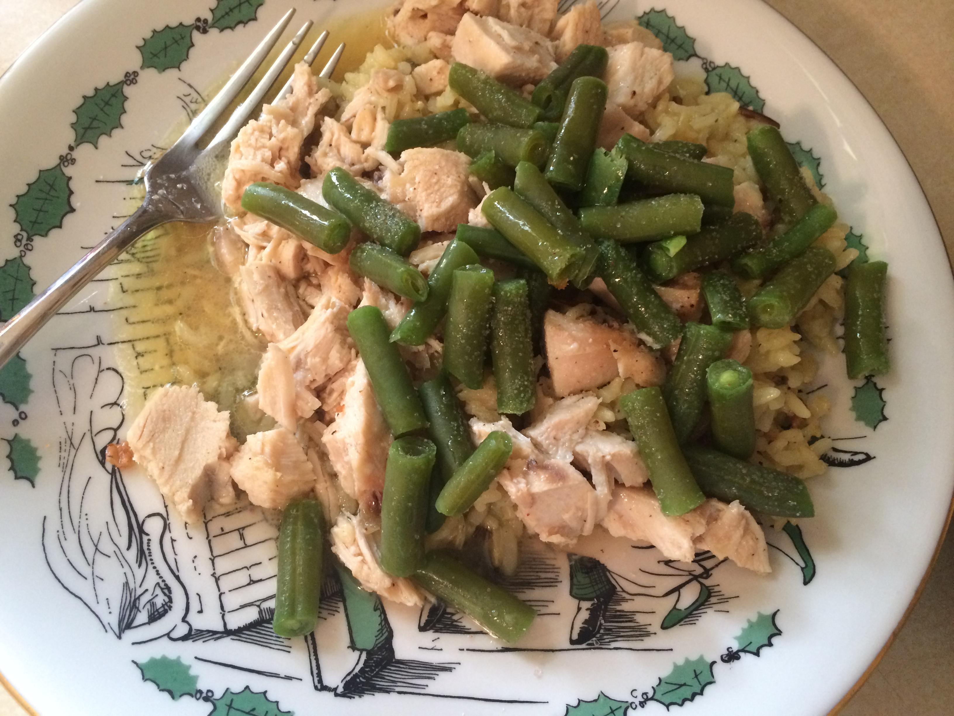 chicken rice green beans