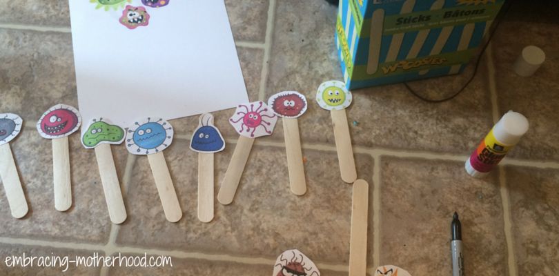 Embracing Motherhood Germ Printouts on Popsicle Sticks