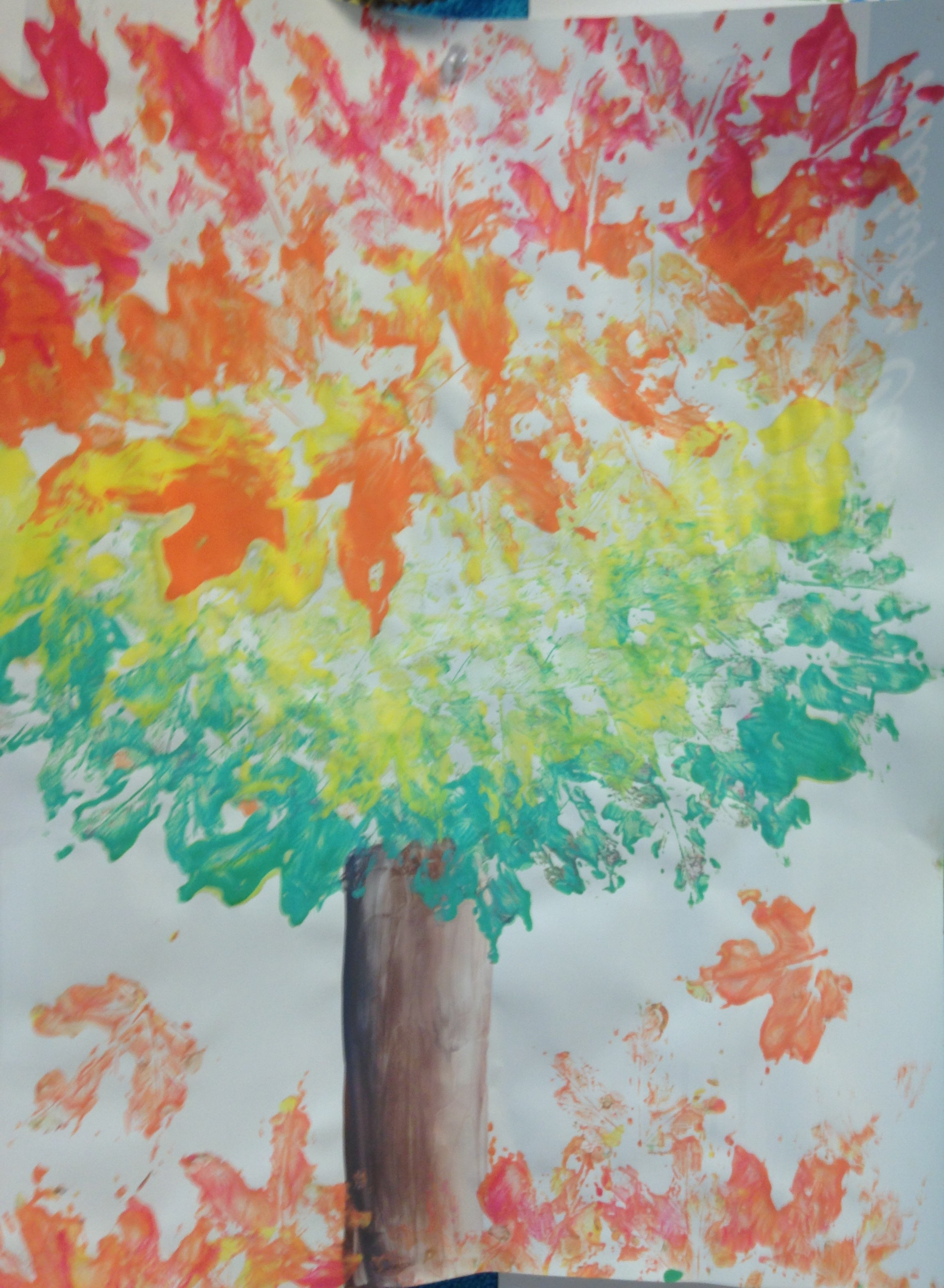Red, Orange, Yellow, and Green Leaf Printing