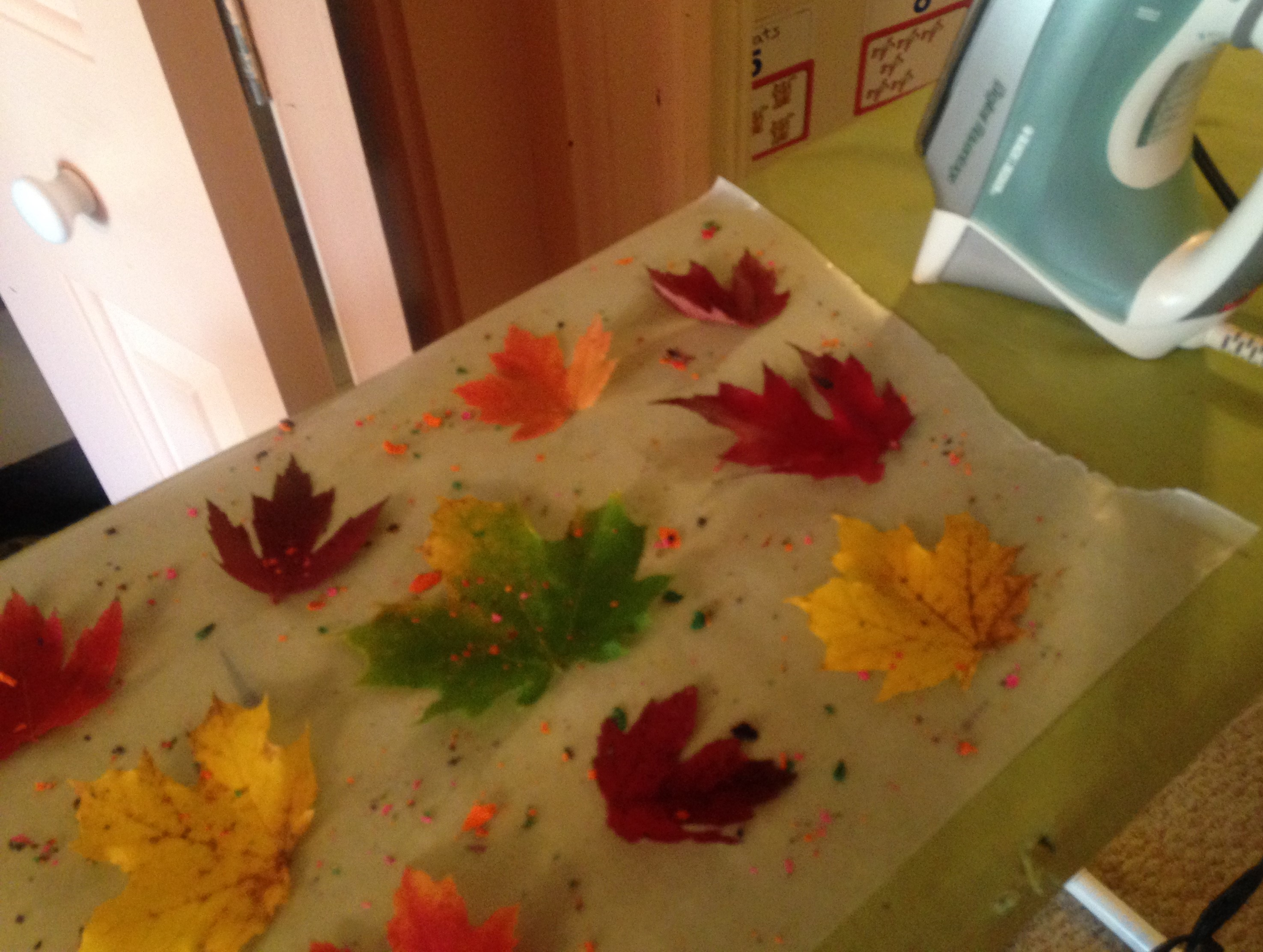 Crayon Sprinkles on Leaves and Wax Paper