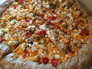 Chicken, Feta Cheese, Sharp Cheddar Cheese, Tomato, and Green Olive Pizza