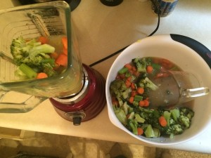 Steamed Broccoli, Carrots, and Celery with Chicken Stock Ready to Blend