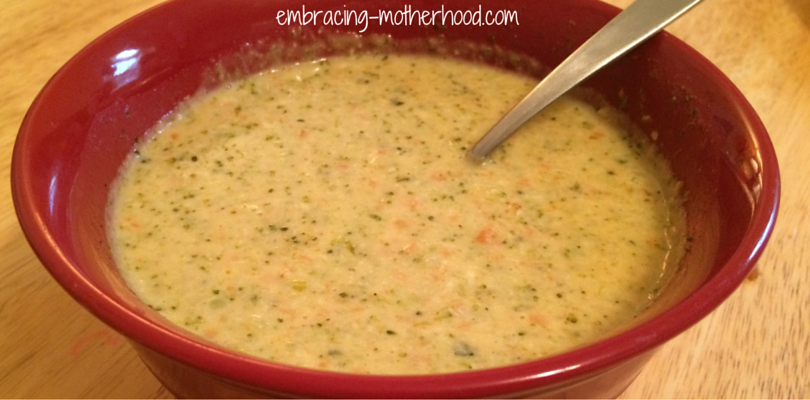 Embracing Motherhood Panera Bread Style Broccoli and Cheese Soup