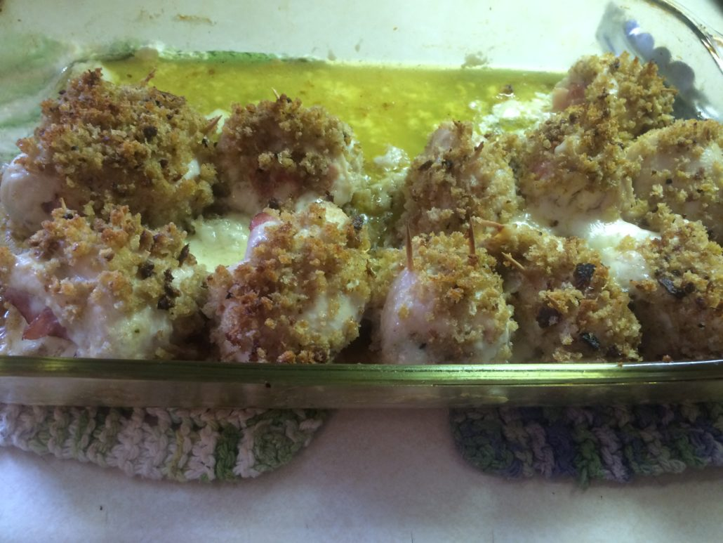 chicken cordon bleu out of the oven