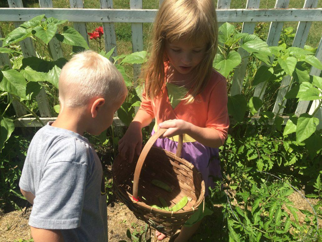 Ruby and Elliot Picking Beans Embracing Motherhood