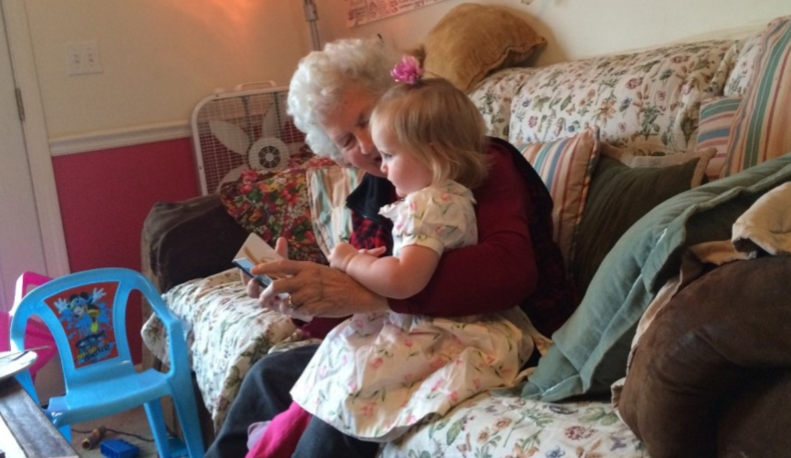 Ophelia Reading with Great Grandma Gene