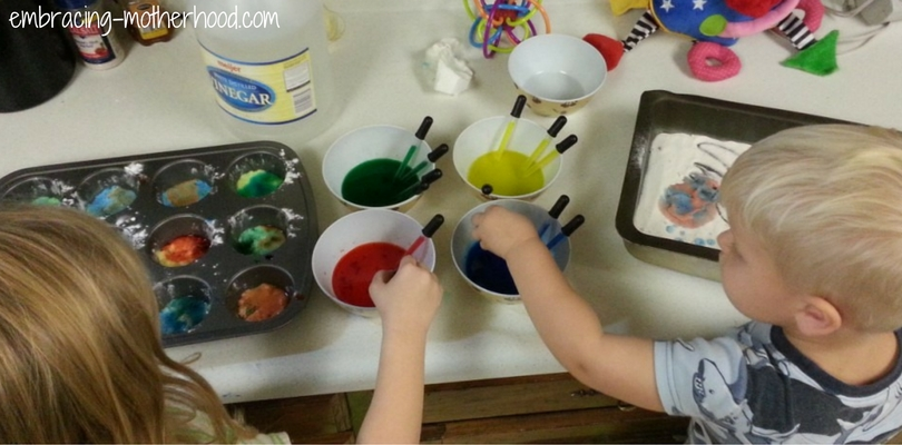 Ruby and Elliot Doing a Vinegar and Baking Soda Experiment