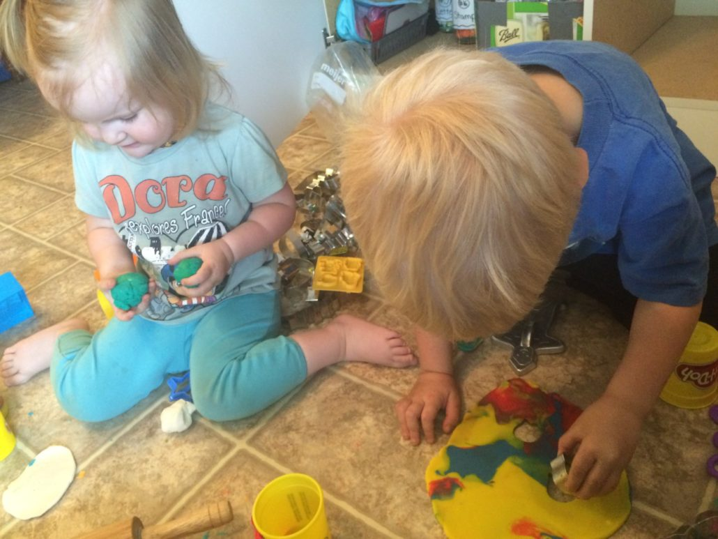 Ophelia and Elliot Playing with Play-Doh