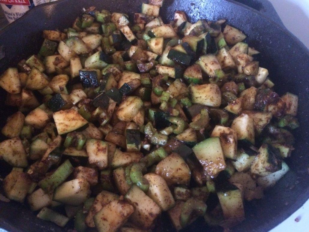 Seasoned Zucchini and Celery Sauteing