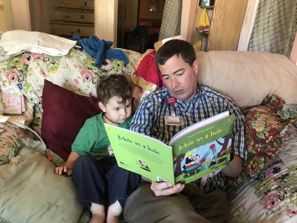 Scott Reading Julian His Favorite Usborne Phonics Book