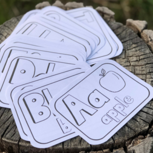 abc black and white flashcards