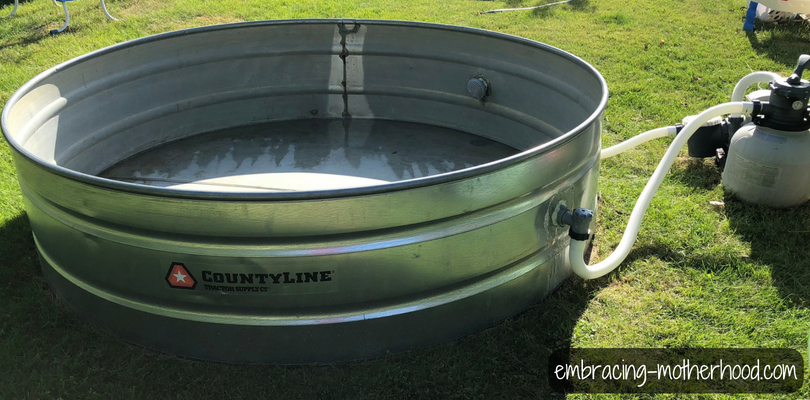 Stock Tank Pool with Plunger Valves and Sand Filter (2018)