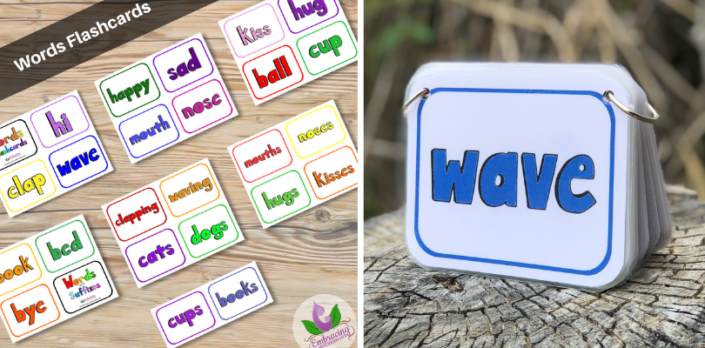 words flashcards rectangle