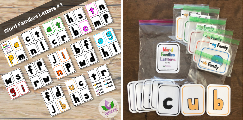 Word Families Letters Flashcards Set #1