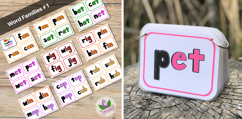Word Families Flashcards Set #1 (4 per page)