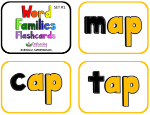 Word Families Flashcards Set 1 snip title page