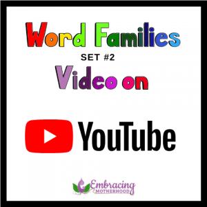 WORD FAMILIES VIDEO ON YOUTUBE SET #2