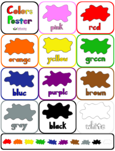 colors flashcards poster