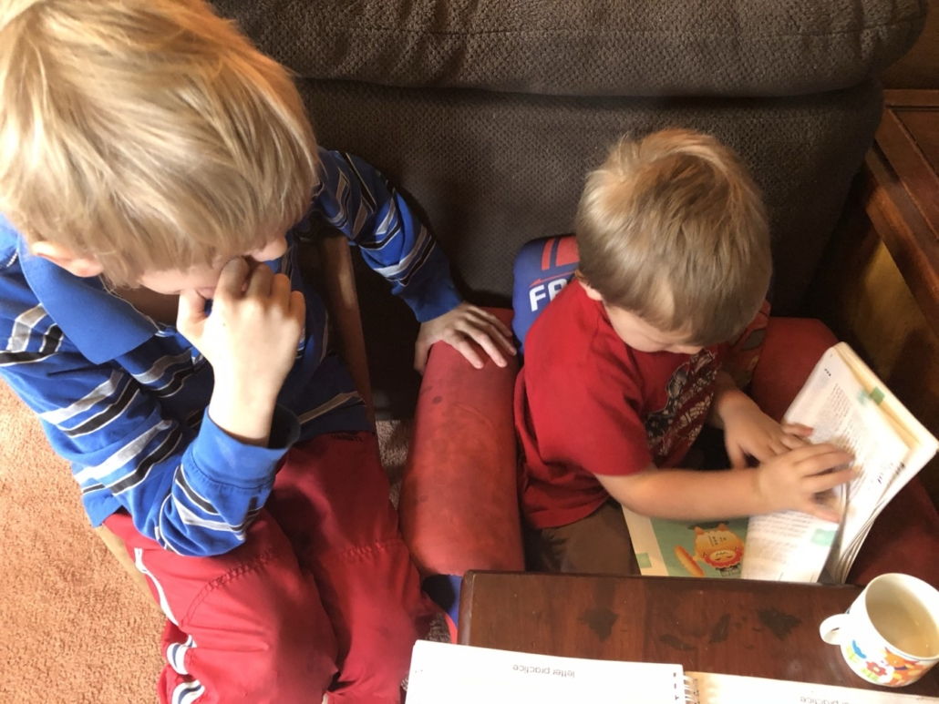 Elliot Reading Basher Books with Jack