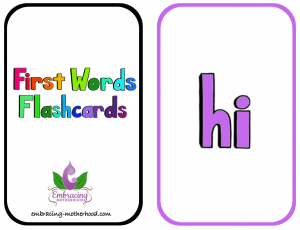 First Words Flashcards 2 Per Page