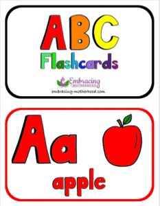 ABC Horizontal Flashcards 2 Per Page